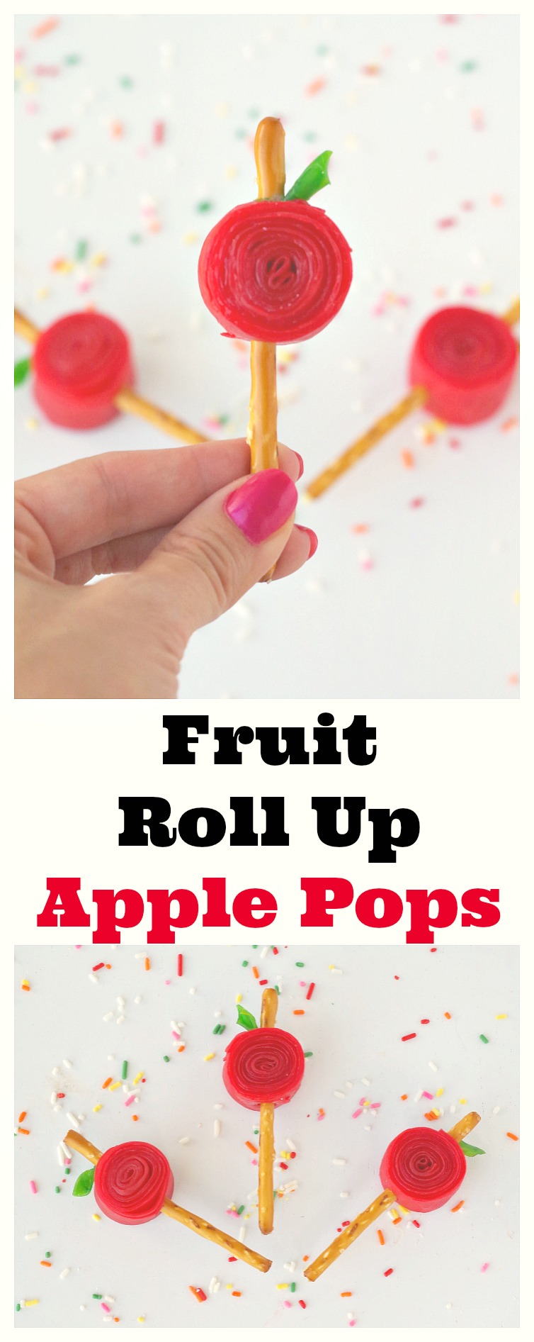 Fruit Roll Up Apple Pops! These simple pops made with fruit roll ups and pretzels are perfect for school lunches or after school snacks.
