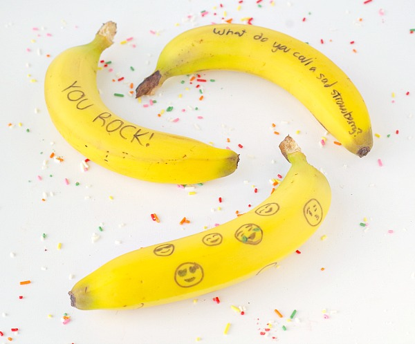 Bananas with notes on them