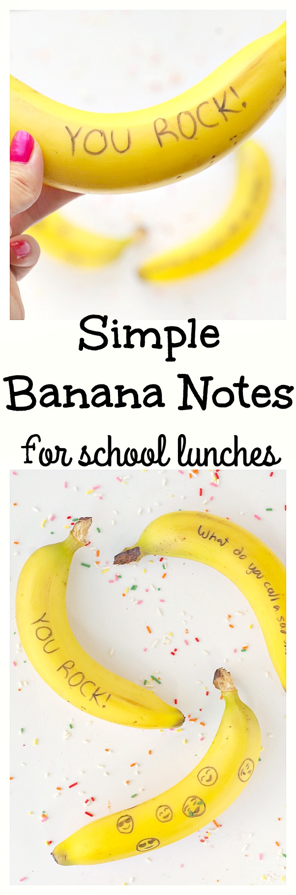 Simple Banana Notes for school lunches! You can leave sweet notes for your kid on their fruit. It's a simple way to show you care.