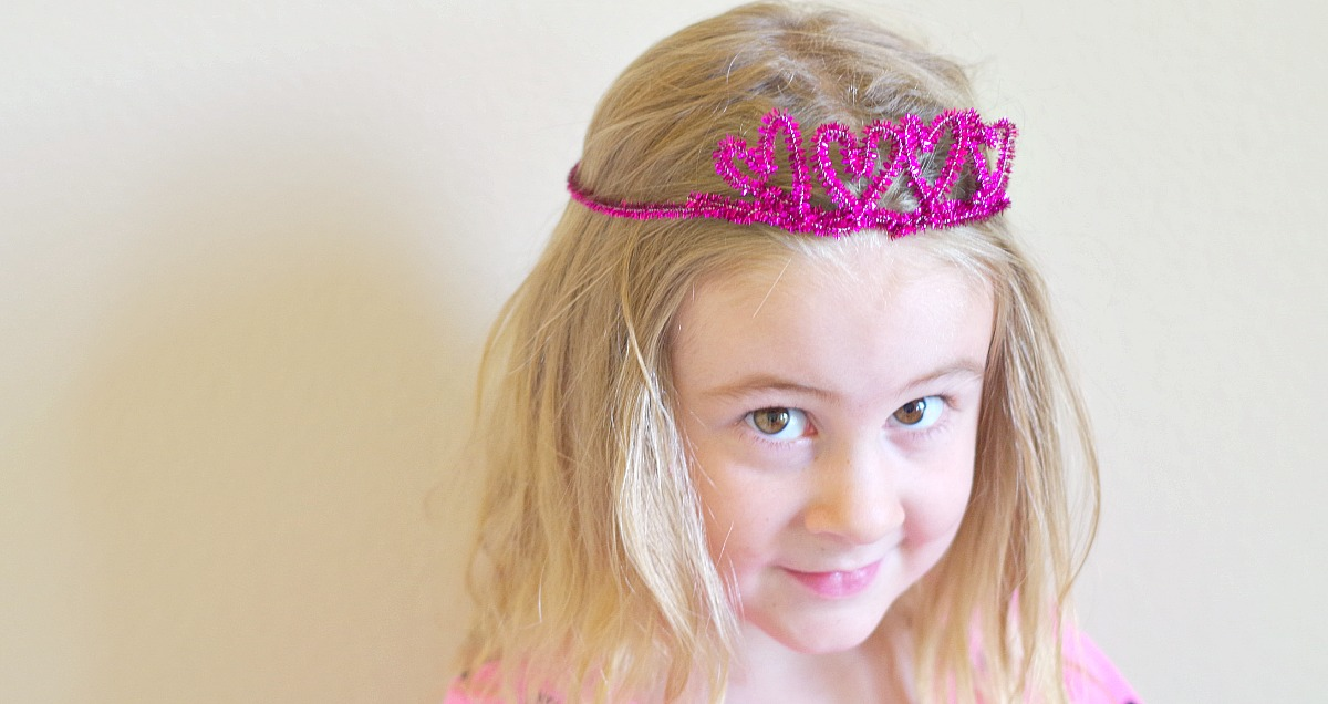 heart sparkle pipe cleaner crown