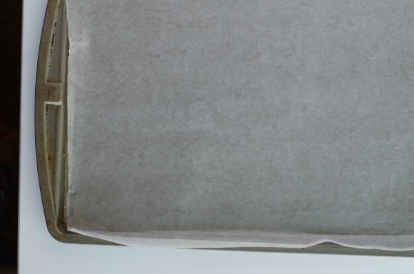 Line tray with parchment paper