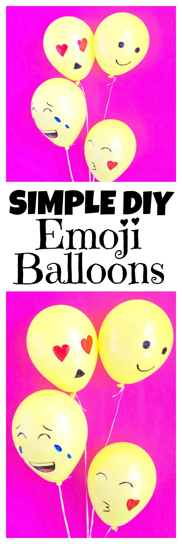 Simple DIY Emoji Balloons! Super easy and fun emoji party DIY