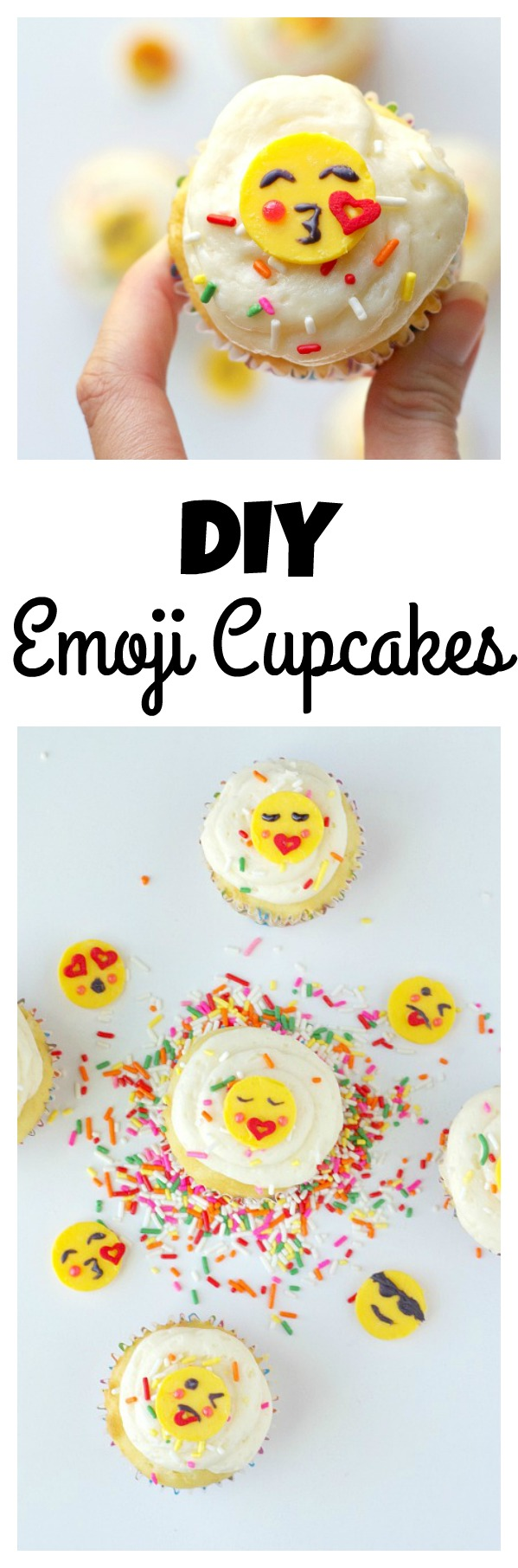 DIY Emoji Cupcakes! Anyone can make these simple emoji cupcakes for parties.