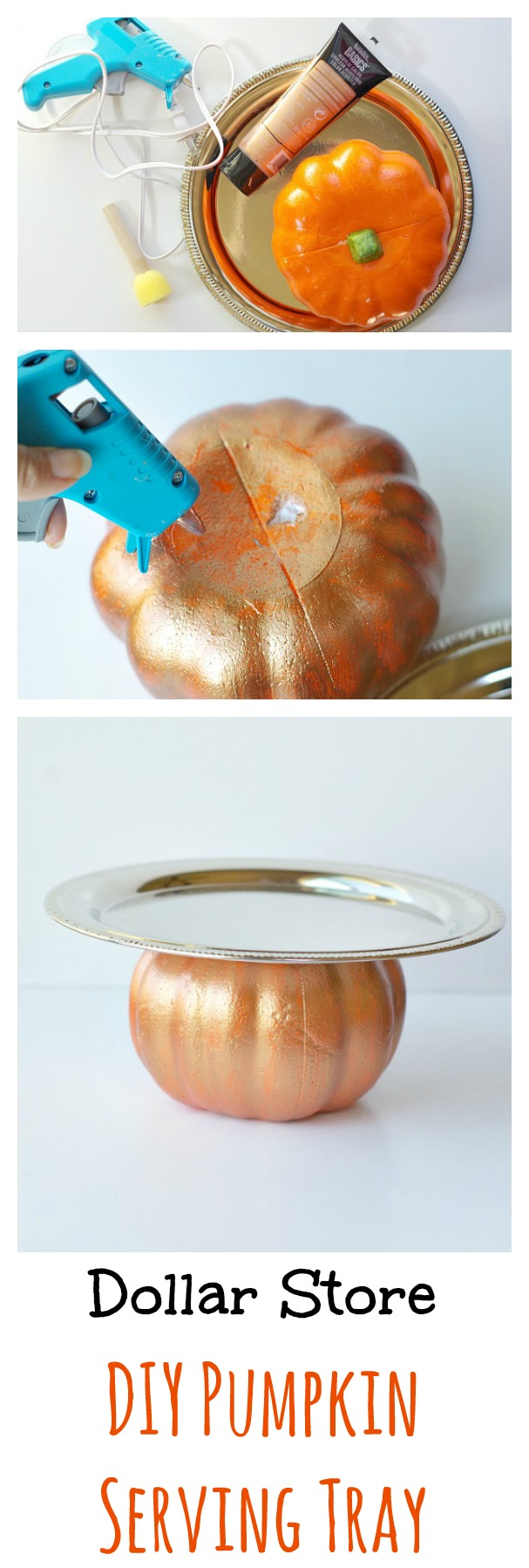 Dollar Store DIY Pumpkin Serving Tray