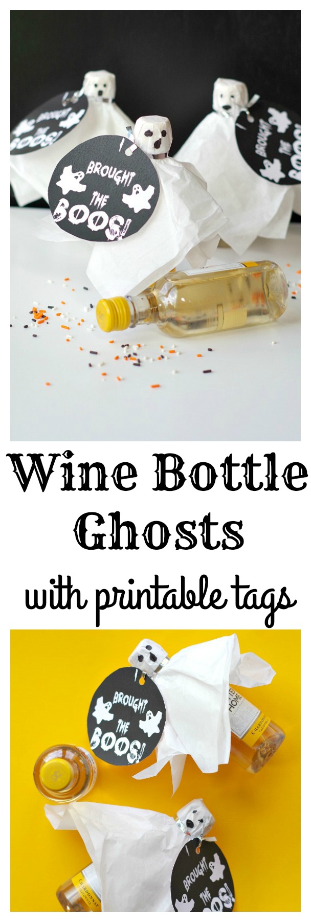 How to make simple wine bottle ghosts with free printable tags!