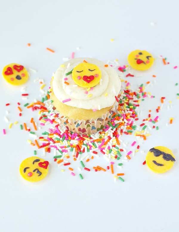 emojis on a cupcake
