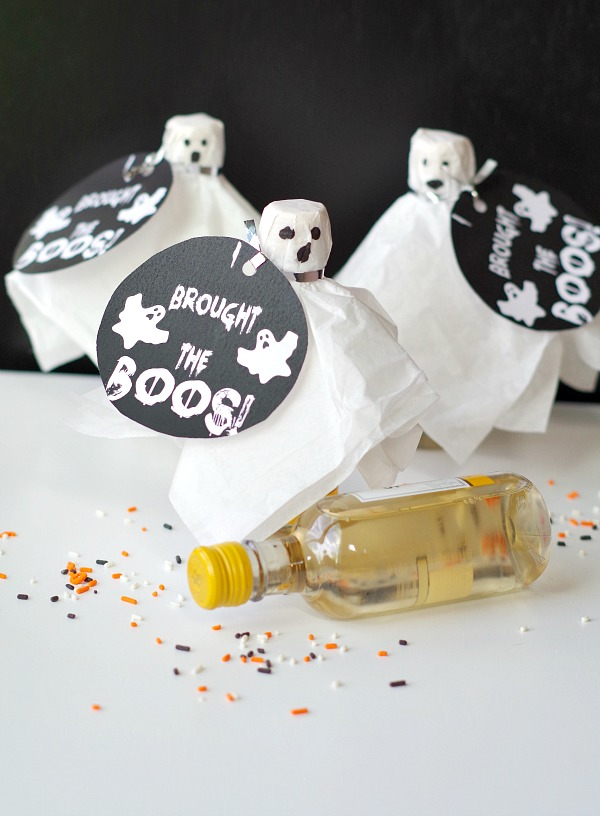 dress up wine with a ghost costume