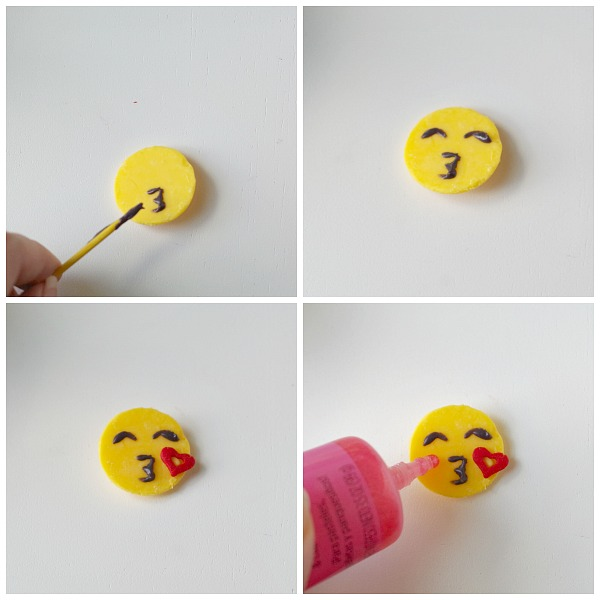 diy blowing kiss emoji cupcake