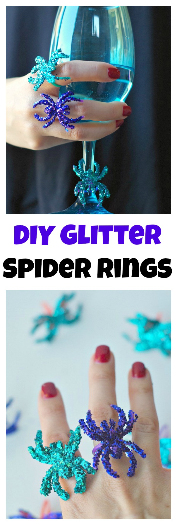 DIY Glitter Spider Rings for Halloween