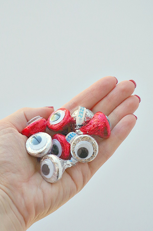 Handful of monster eye Hershey's Kisses for Halloween