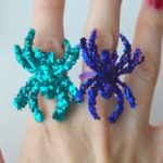 DIY Glitter Spider Rings