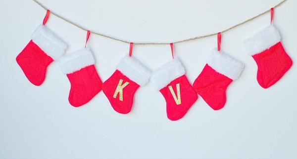 Christmas garland with mini stockings