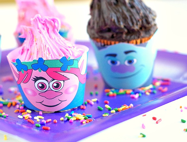 printable girl and boy troll inspired cupcakes