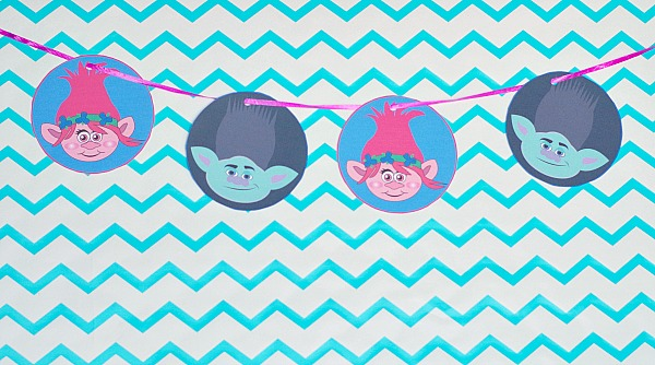 Trolls printable party garland