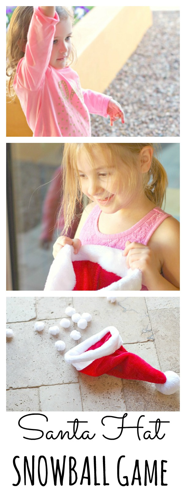 "Santa Hat Christmas Game. Throw ""snowballs"" into the santa hat."