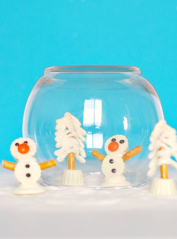 Snow globe with winter snow treats