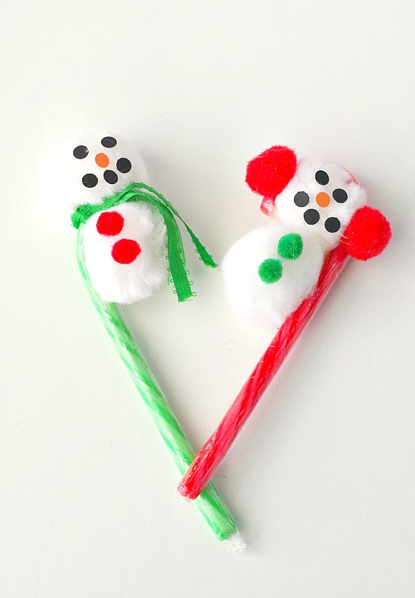 Red and green snowmen candy canes