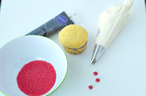 ingredients for Santa cupcake