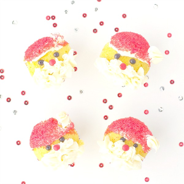 Santa cupcakes with buttercream frosting