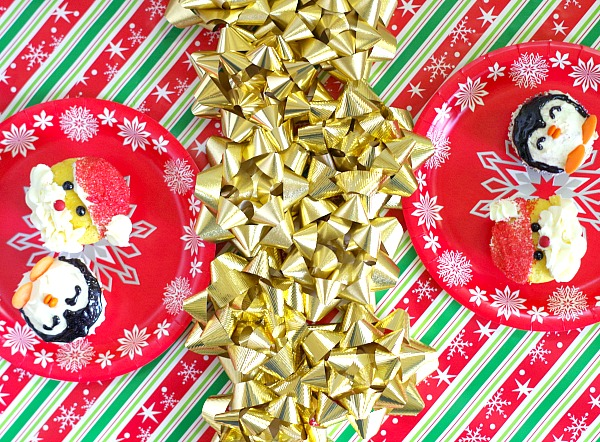 gift wrapped Christmas table setting