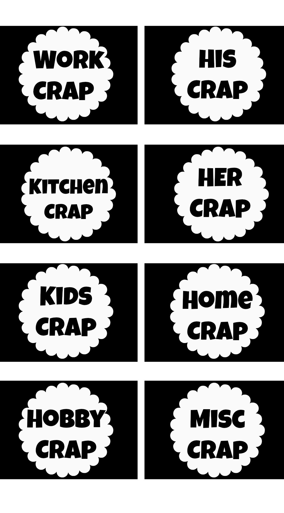 Funny Organization Printable Labels