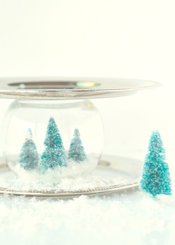 Snow globe decorative serving tray