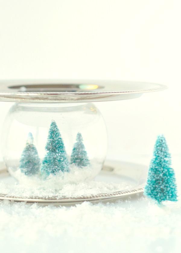 Snow globe decorative serving tray