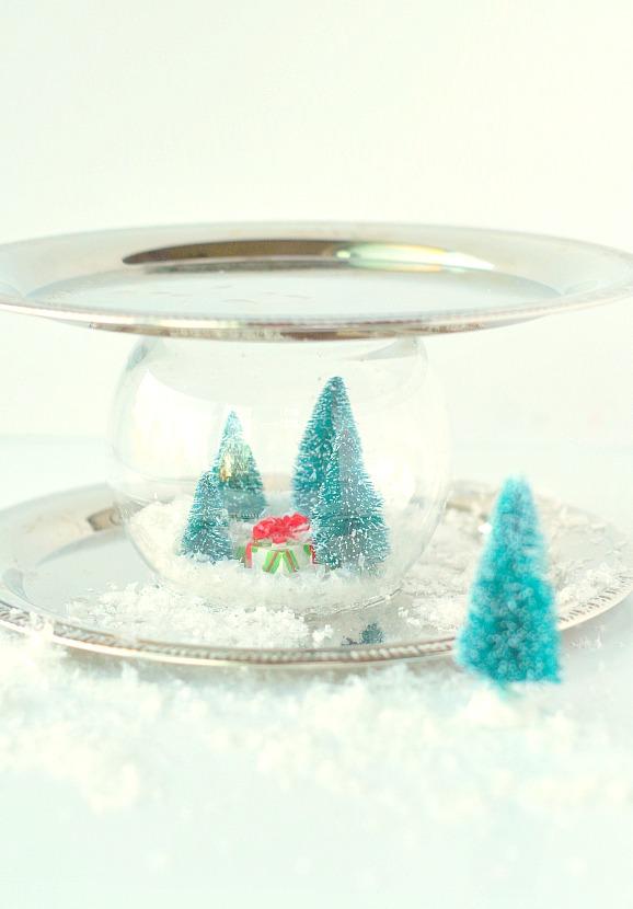 Fun Tray with Snow Globe inside