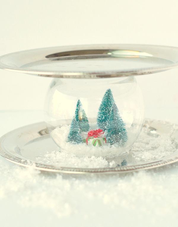 Pretty Snow Globe Serving Tray
