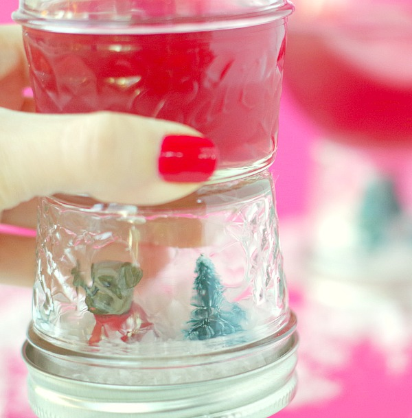 Dog and tree snow globe shot glass