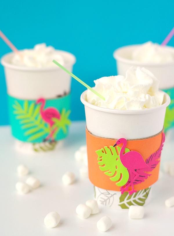 Tropical coffee drink sleeves