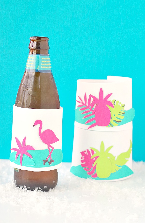 DIY Drink Koozies With Bright Tropical Decorations