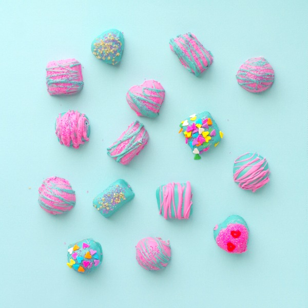 DIY pink and turquoise chocolates