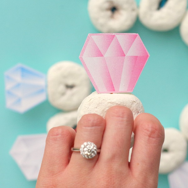 Diamond ring and diamond ring donut toppers