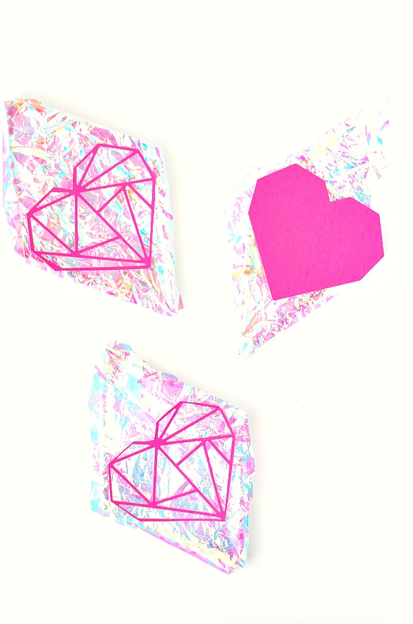 Hearts and Diamonds DIY Iridescent Party Decorations