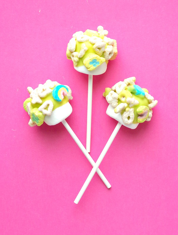 Lucky Charms Marshmallow Pops for St Patrick's Day