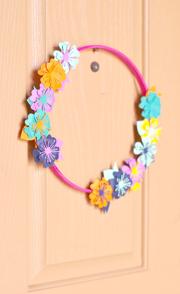 Colorful Paper Flower Hoop Wreath