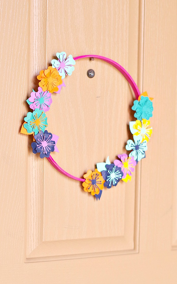 Fun Paper Floral Hoop Wreath