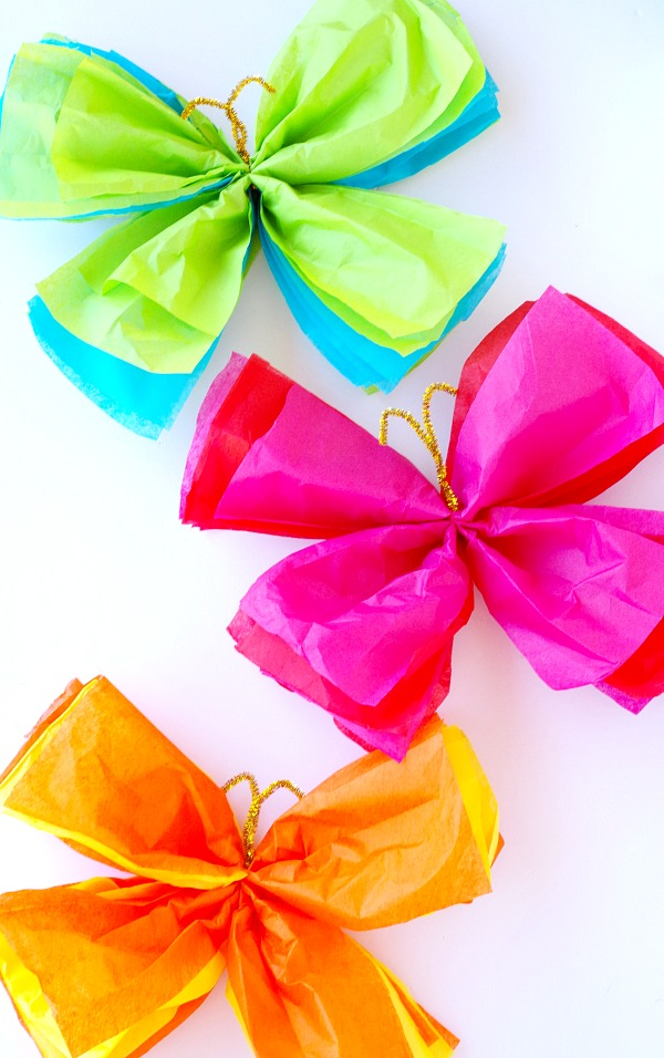 Colorful Tissue Paper Butterflies