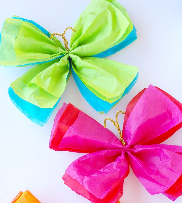 Tissue paper butterflies val event gal for Butterflies for crafts and decoration