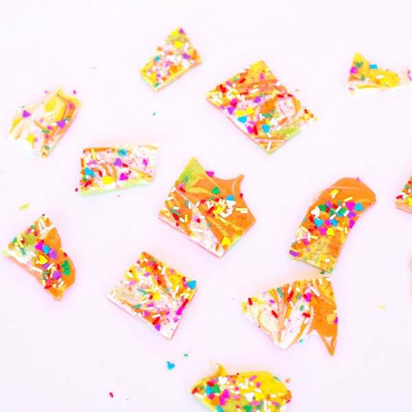 Chocolate bark in colorful spring colors