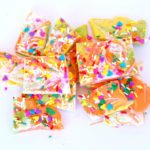 Bring spring chocolate bark with colorful sprinkles