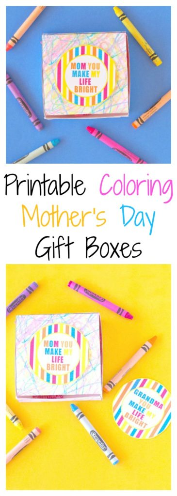 Printable Coloring Mother's Day Gift Boxes