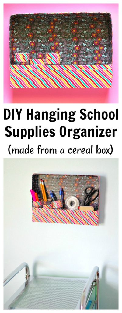 DIY Hanging School Supplies Organizer