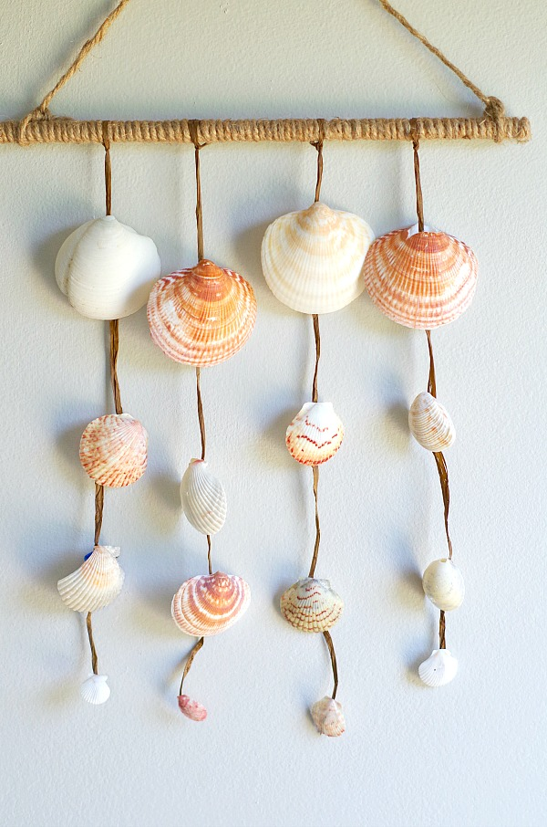 Simple DIY Seashell Wall Hanging with shells collected from the beach