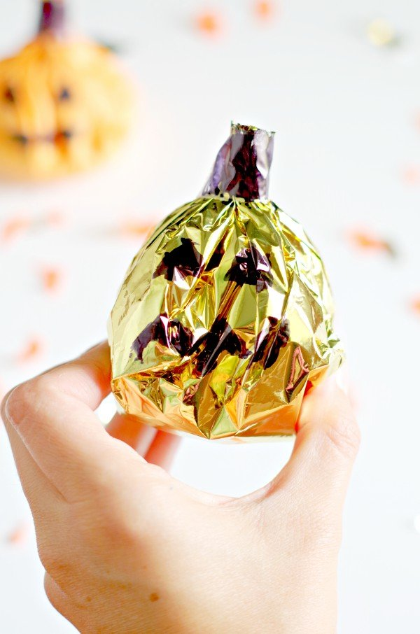 Gold Jack O Lantern Treat Bag