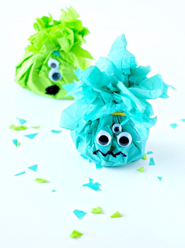 Halloween Tissue Paper Monster Treat Bags