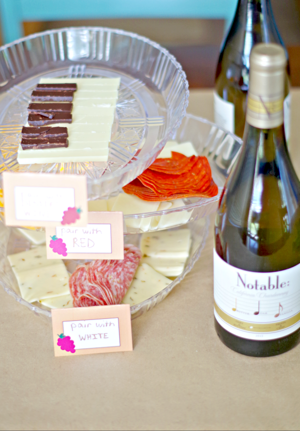 food tray with wine pairing