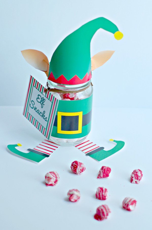 Elf snacks mason jar gift