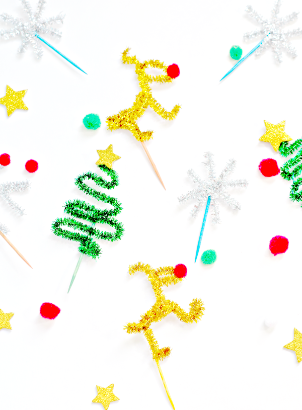 Cute Pipe Cleaner Holiday Food Toppers